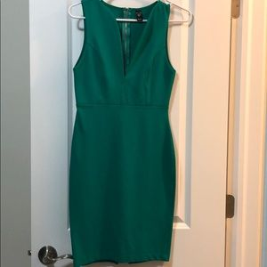 Windsor Fitted Green Dress w/ Gold Zipper Accents